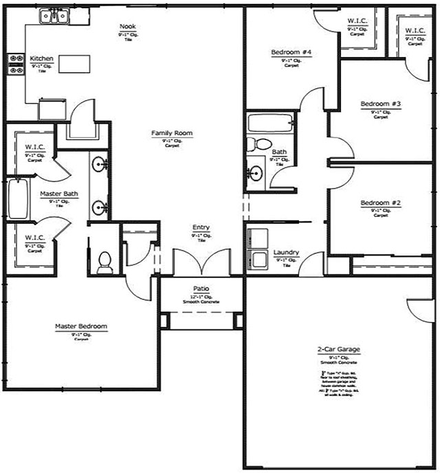Auburn Oak Homes New Homes In Bakersfield Floor Plan With 4 Options